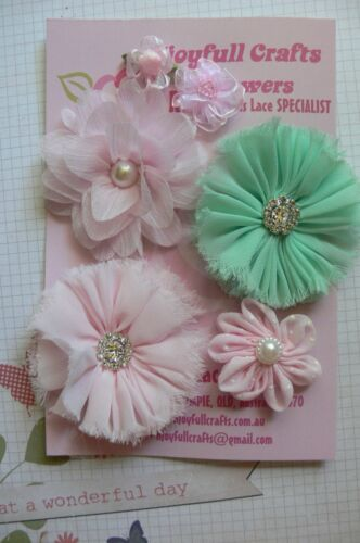 HANDMADE 6 Flower Pack PINK /& MINT Organza Satin 25-70mm NjoyfullCrafts HT1