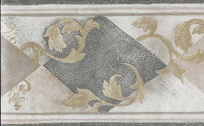Grey and Tan Diamonds with Gold Leaf Scroll Marble Look WALLPAPER BORDER *