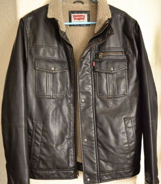 bc7b73fa49 Levi s Men s Faux-Leather Sherpa Lined Trucker Jacket Dark Brown Size ...