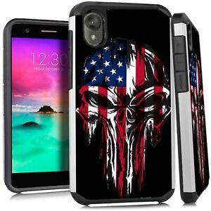 Hybrid Slim Case For Motorola Moto E6 Phone Cover Melting Skull Us Flag Ebay