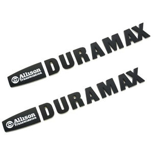 2Pcs Allison Duramax Badges Emblems Replacement for Gm 2015 Silverado 2500hd 3500hd Hood Black Red