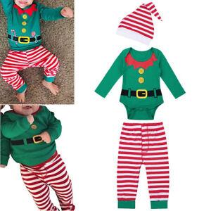 70b76ec260a 3Pcs Newborn Infant Baby Boy Girl Romper Pants Hat Christmas Elf ...