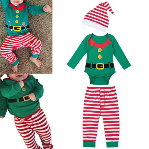 3Pcs Newborn Infant Baby Boy Girl Romper Pants Hat Christmas Elf Outfits Clothes