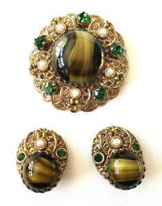 Vintage Aurora Borealis Rhinestone Flower Bracelet Clip Earrings Set Faux Pearl Cabochons Goldtone