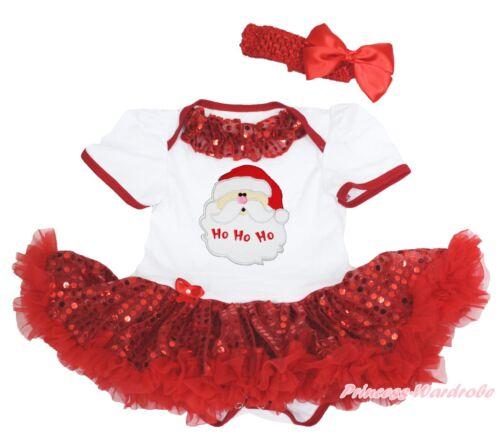 XMAS Santa Claus Head Bling Lacing White Bodysuit Red Sequins Baby Dress NB-18M