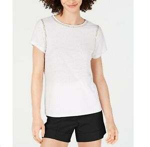 INC-Womens-M-Bright-White-Short-Sleeve-Sequin-Stitch-Crew-Neck-TShirt-Top-NWT