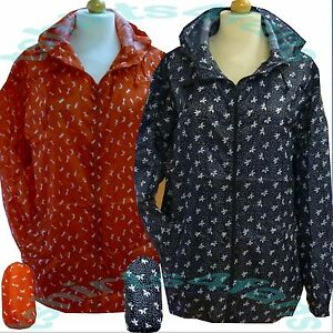 New Ladies Lightweight Patterned Kagoul Rain Coat Jacket Mac ...