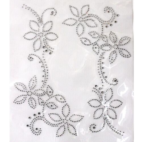 Rhinestone Iron on Transfer Hot fix Motif crystal Fashion Design Flowers line 02