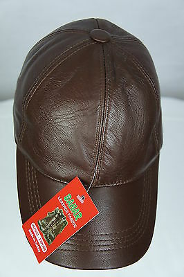 New 100% Lambskin Leather Baseball Ball Cap Hat Biker Trucker Sports Visor NWT