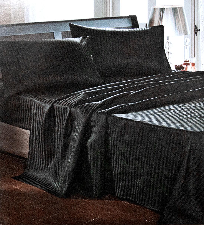 Set Satin Set Bettlaken Schwarz Gestreift Bett Leinen Hüllen