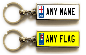 Personalised Metal Double Sided Registration Number Plate Keyring Any Name /Text