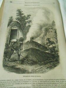 Fabrication-du-Charbon-de-Bois-par-meules-1849-Gravure-Print-Article