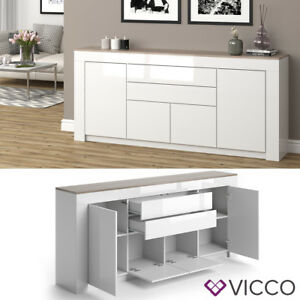 vicco sideboard milan 190 cm wei hochglanz kommode anrichte wohnzimmerschrank ebay. Black Bedroom Furniture Sets. Home Design Ideas