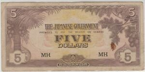 Mazuma *M1351 Malaya Japanese WWII JIM 1942 $5 MH VF
