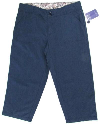 Laura Scott Petite Women Capri Pants Linen Cropped