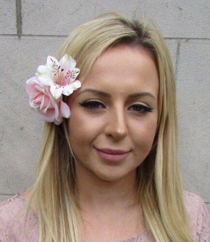 Blush Light Pink Alstroemeria Rose Flower Fascinator Hair Clip Wedding 6090