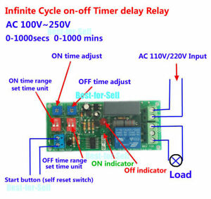 Details about AC 220V 110V Adjustable Cycle Delay Time Timer Relay Module  Turn ON OFF Switch