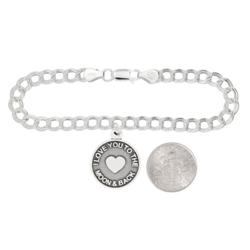 LGU® Sterling Silver Oxidized I Love You to the Moon and Back Charm with Option