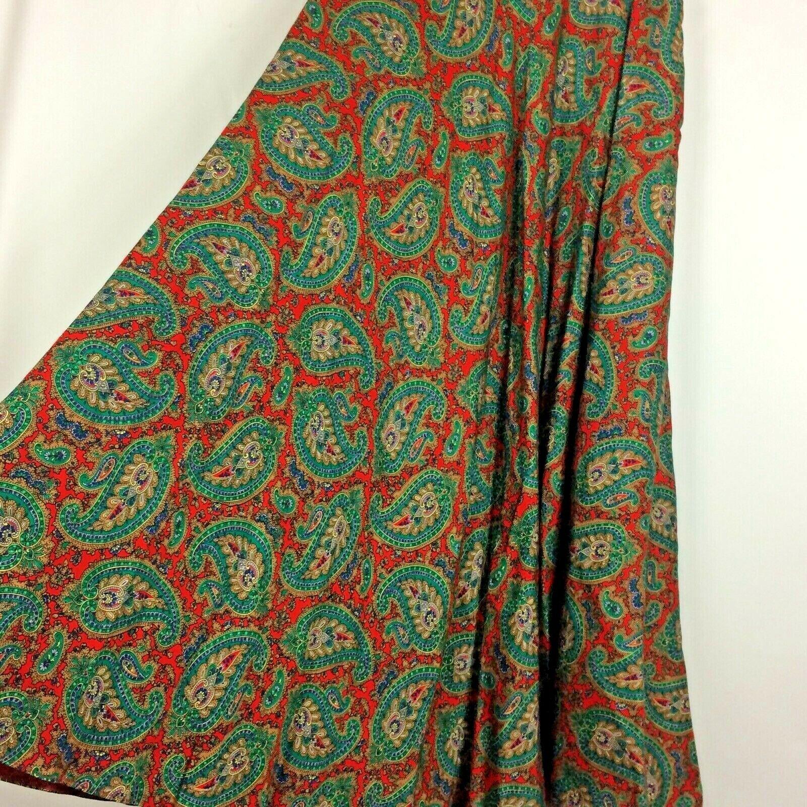 Ralph Lauren Maxi Skirt Red Green Paisley Print R… - image 4
