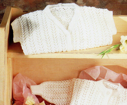 Knitting Pattern-Baby Cardigans 2styles,Waistcoat,Pants 4sizes 0-18months  P0365