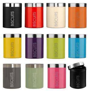 Biscuit-Barrel-Kitchen-Canister-Storage-Jar-Enamel-Satin-Stainless-Steel