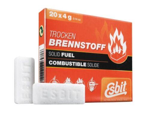 Solid Fuel Tablets 20 pack 4g Esbit Hexamine Pocket Stove and Fire Starter Cubes