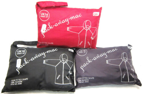 LADIES PACK AWAY MAC HOODED SIDE POCKETS WITH POUCH FOR STORAGE