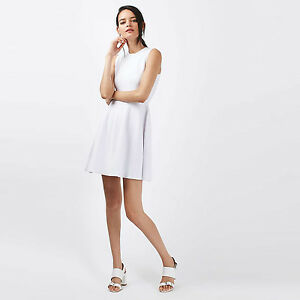 968ac16a7afe Topshop White TEXTURED Skater Dress Size 6 8 10 12 14 16 - RRP £56 ...