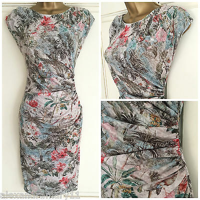 NEW Ex Wallis Grey White Pink Blue Green Tropical Print Ruched Dress 8 - 18