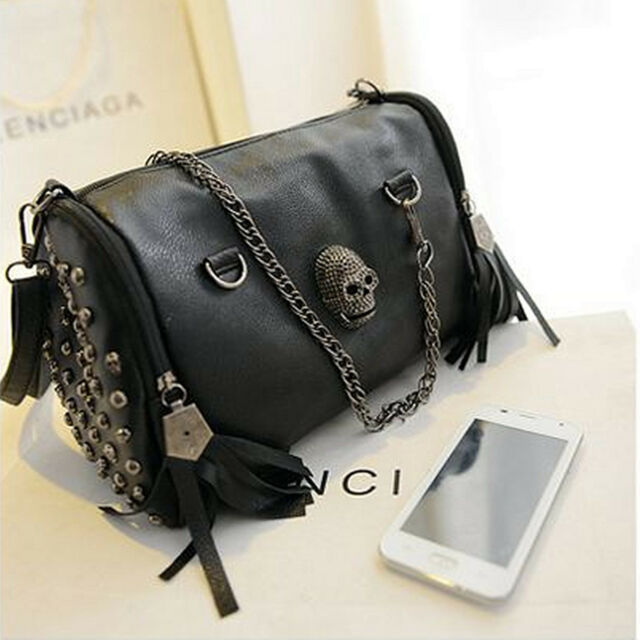 Women Skull Rivet Tassels Shoulder Bag Handbag Crossbody Satchel Tote Purse