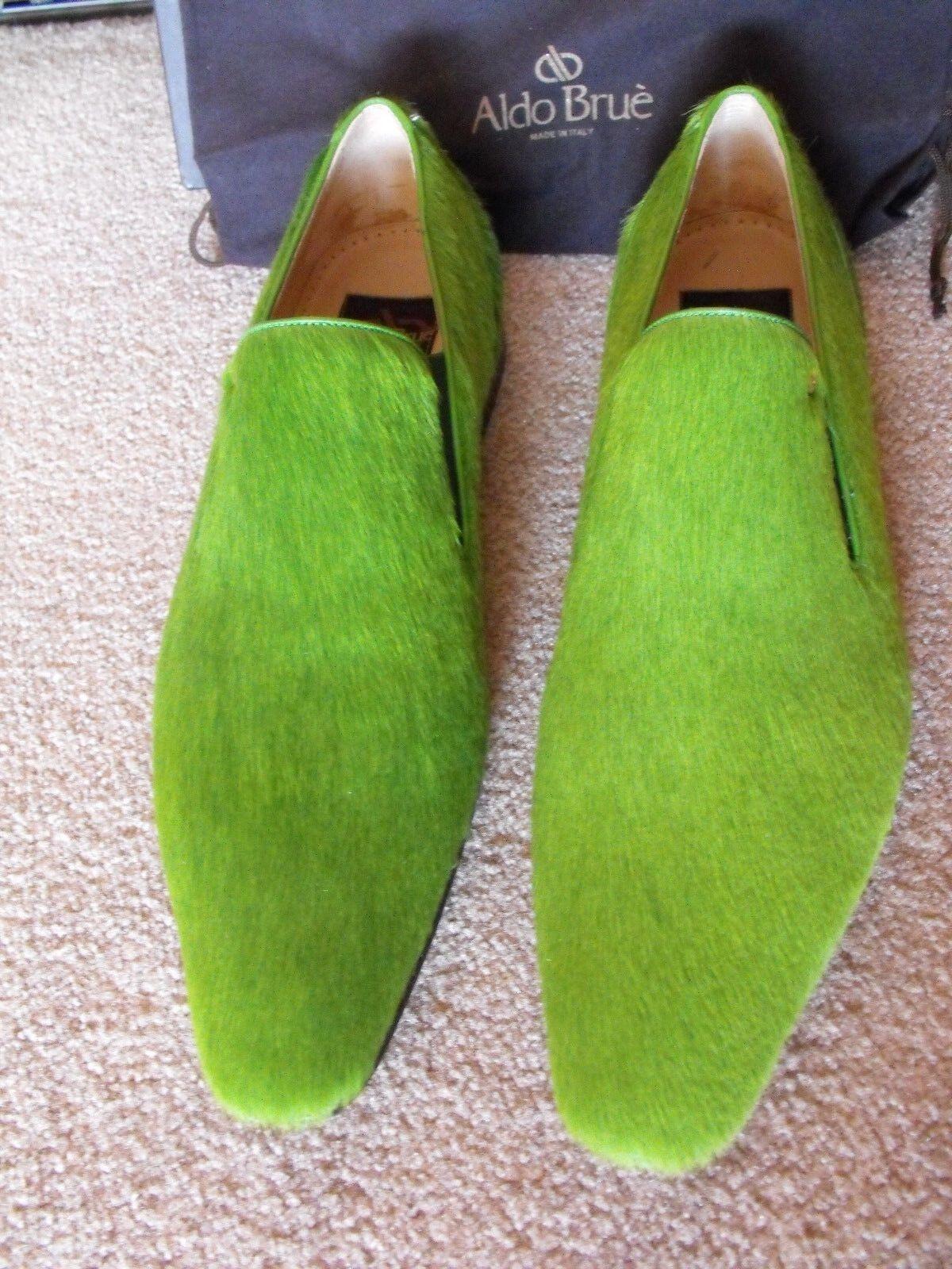 NEUF rare  nouveau without box  1,900 ALDO BRUE Italie vert pony hair loafers US 11 UK 10 EU 44
