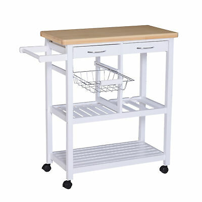 Rolling Kitchen Trolley Cart Island Wooden Storage Shelf with Drawers White