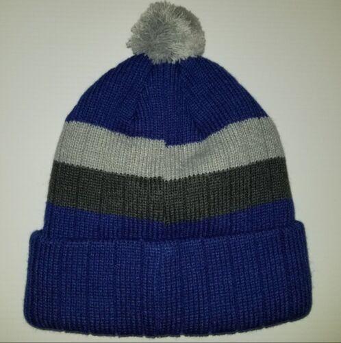 Blue//Grey Illinois Fighting Illini Embroidered Knit Pom Beanie Skull Cap