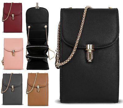 New Ladies Faux Leather Wallet Mobile Phone Case Pouch Satchel Crossbody Bag
