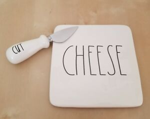 NEW-RAE-DUNN-by-MAGENTA-CHEESE-Plate-and-CUT-Cheese-Knife-Farmhouse-Home-Decor