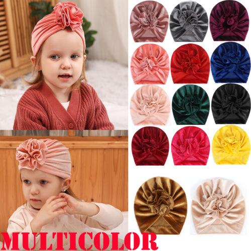 Toddler Baby Girl Turban Flower Head Wrap Infant Beanie Hat Warm Cap Headband US