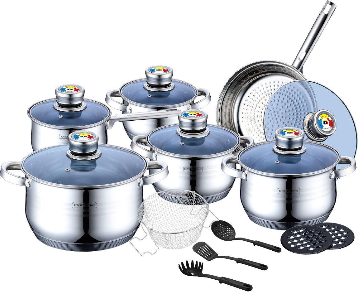 De haute qualité induction inox Lot de Casserole Casseroles Poêle Casseroles Set 18-tlg