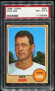 1968-Topps-Baseball-591-DICK-NEN-Chicago-Cubs-PSA-8-NM-MT