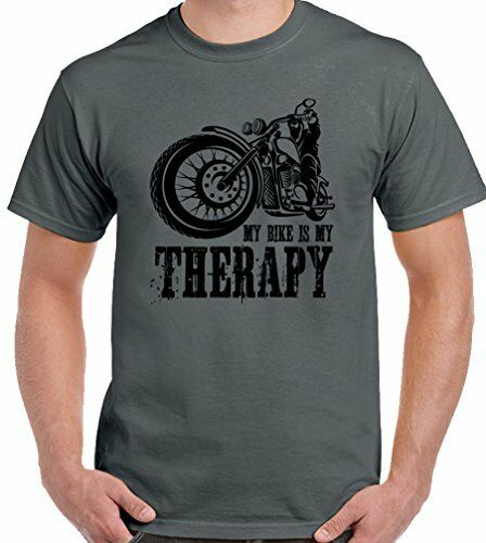 My Bike Is My Therapy Mens Funny Biker T-Shirt Motorbike Motorcycle Cafe Racer