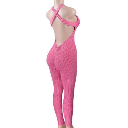 Damen Sport Yoga Gym Playsuit Hosenanzug Leggings Slim Bodysuit Overall Jumpsuit
