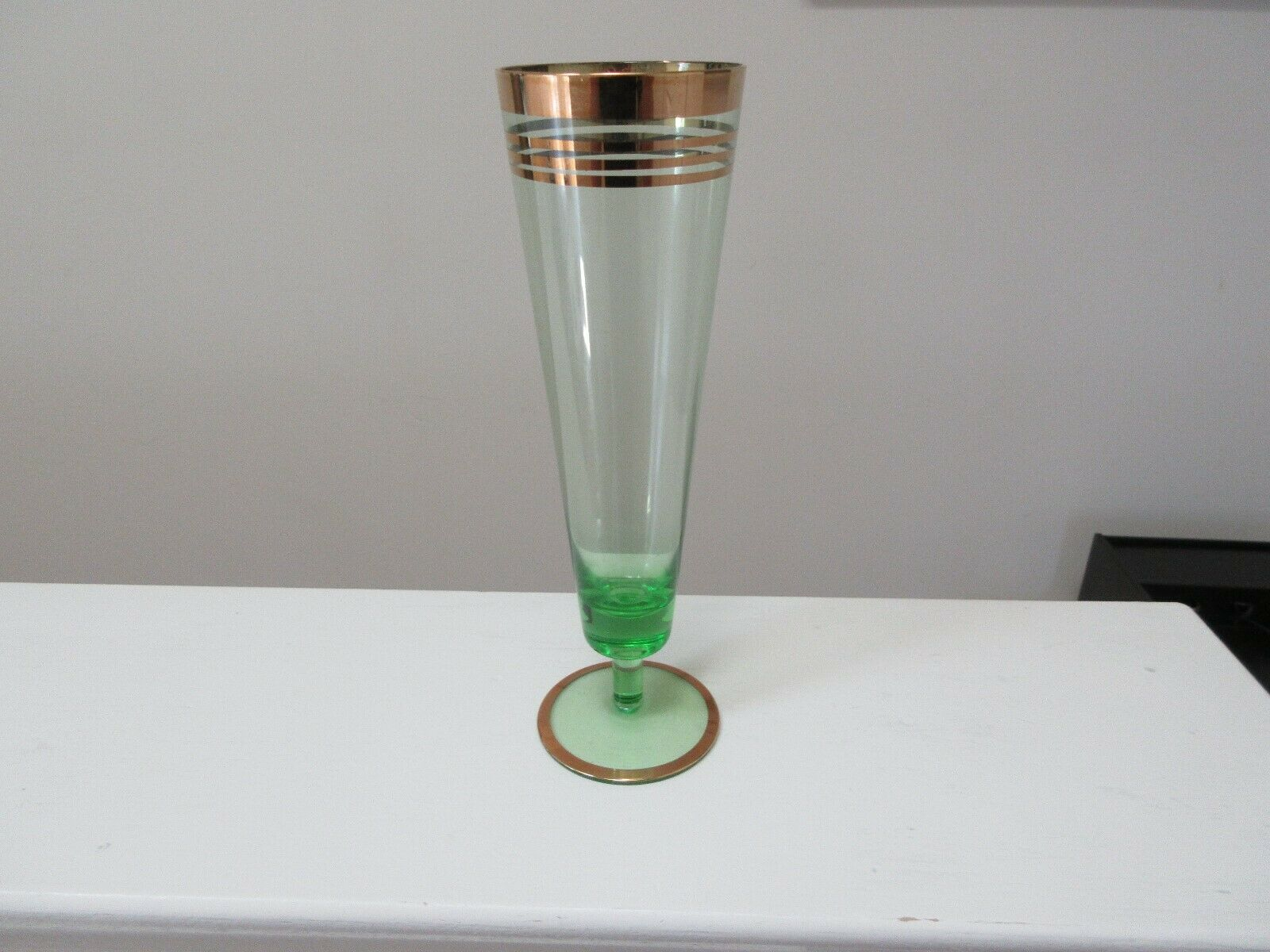 Glassware , Vintage , Gold Trim Glass with Green Tint ,