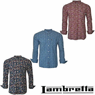 Lambretta Mens Paisley Shirts Mod Retro Long Sleeve Cotton Button Down Uk S-3xl
