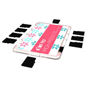 KIWI Ultra Slim carte mémoire support stockage Protecteur Fits 10 Micro cartes SD rose
