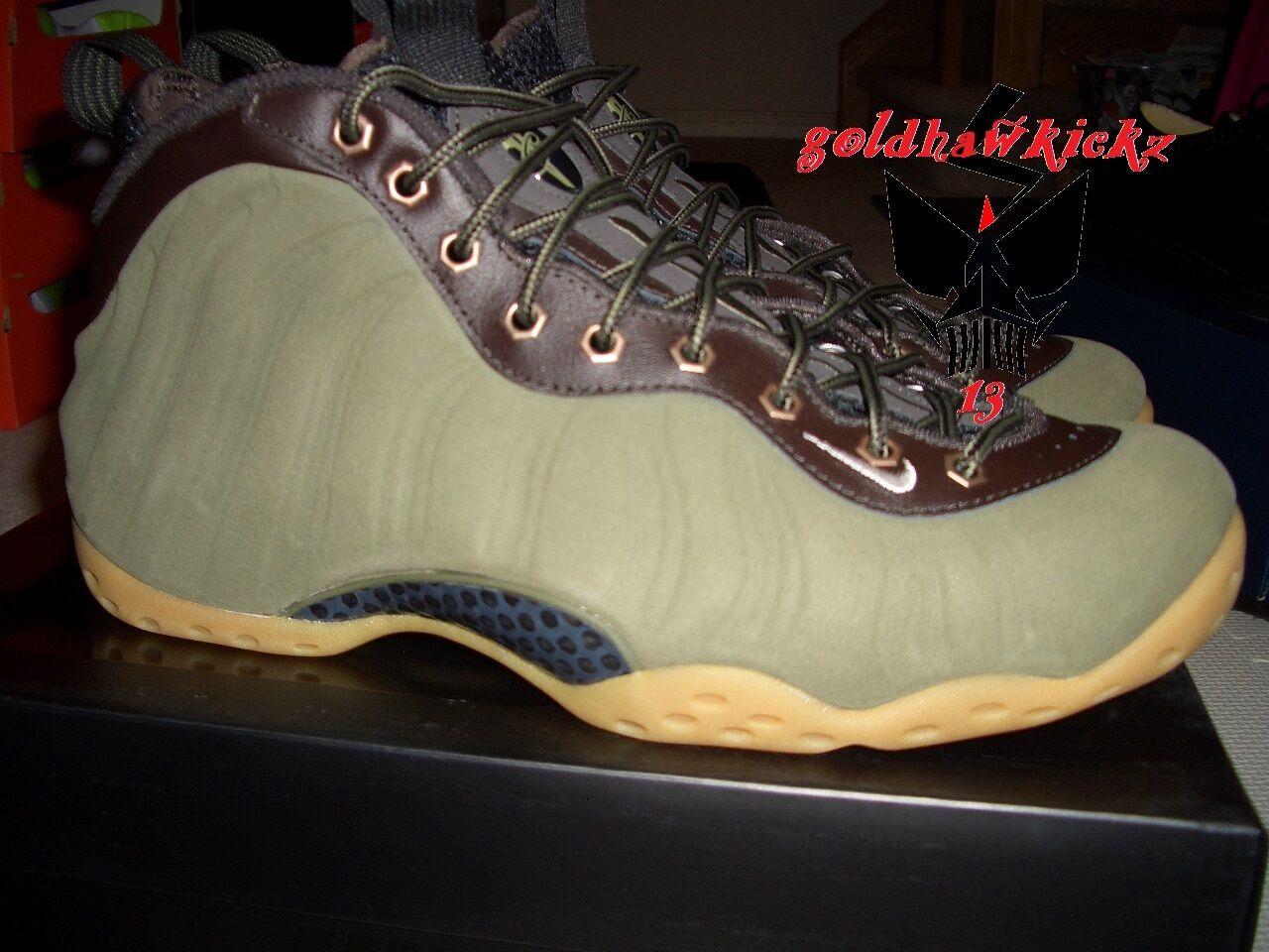 Nike Air Foamposite prm olive green suede gum sole penny hardaway 575420 200