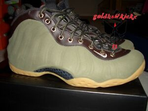 84c3f205dcab8 ... closeout image is loading nike air foamposite prm premium olive green  suede 96580 6e940