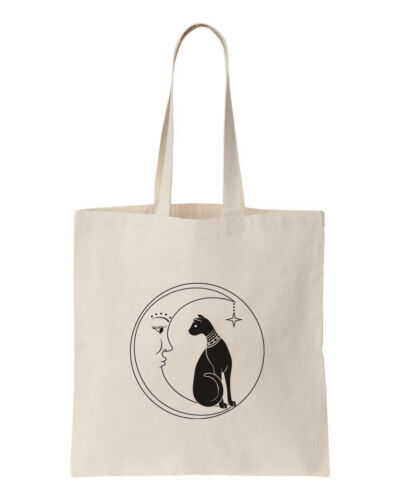 Vintage Black Cat and Moon 100/% Cotton Eco No Waste Tote Shopping Bag 150GSM 5OZ