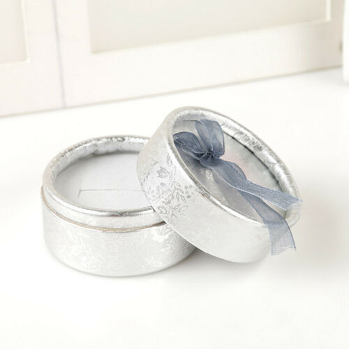 Elegant Round Earring Rings Box Bowknot Jewelry Organizer Holder Gift Package#
