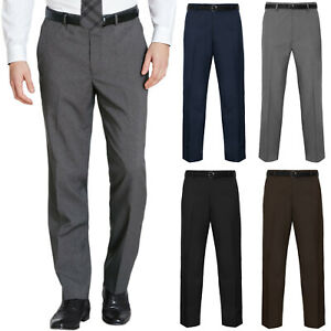 MENS TROUSERS OFFICE BUSINESS WORK FORMAL CASUAL SMART BELT POCKET SIZE 30 TO 50