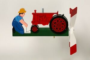 Cranking-RED-Tractor-Hand-Painted-Wooden-Wind-Whirligig-30-Red-Tractor