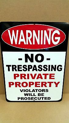 9 x 12 Aluminum Warning Security NO TRESPASSING Private Property Sign